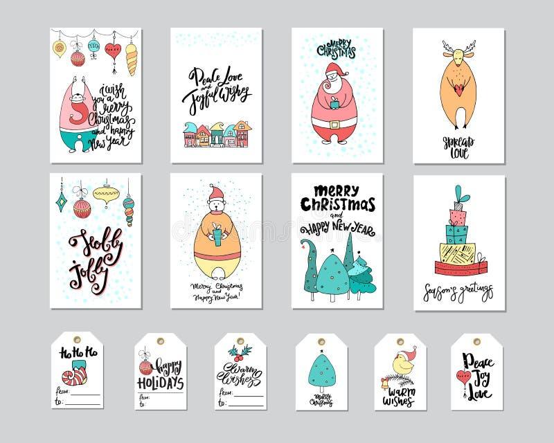 Tarjeta de felicitación de la Feliz Navidad y sistema de la etiqueta del regalo con el oso, santa, los ciervos, los regalos, el n ilustración del vector