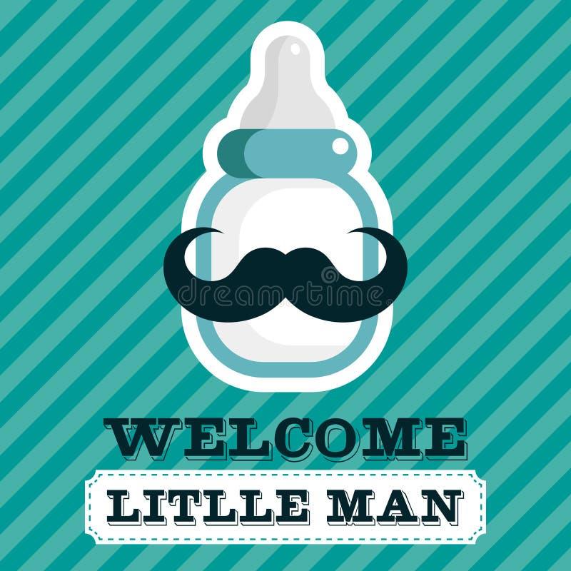 Tarjeta de felicitación de la fiesta de bienvenida al bebé stock de ilustración
