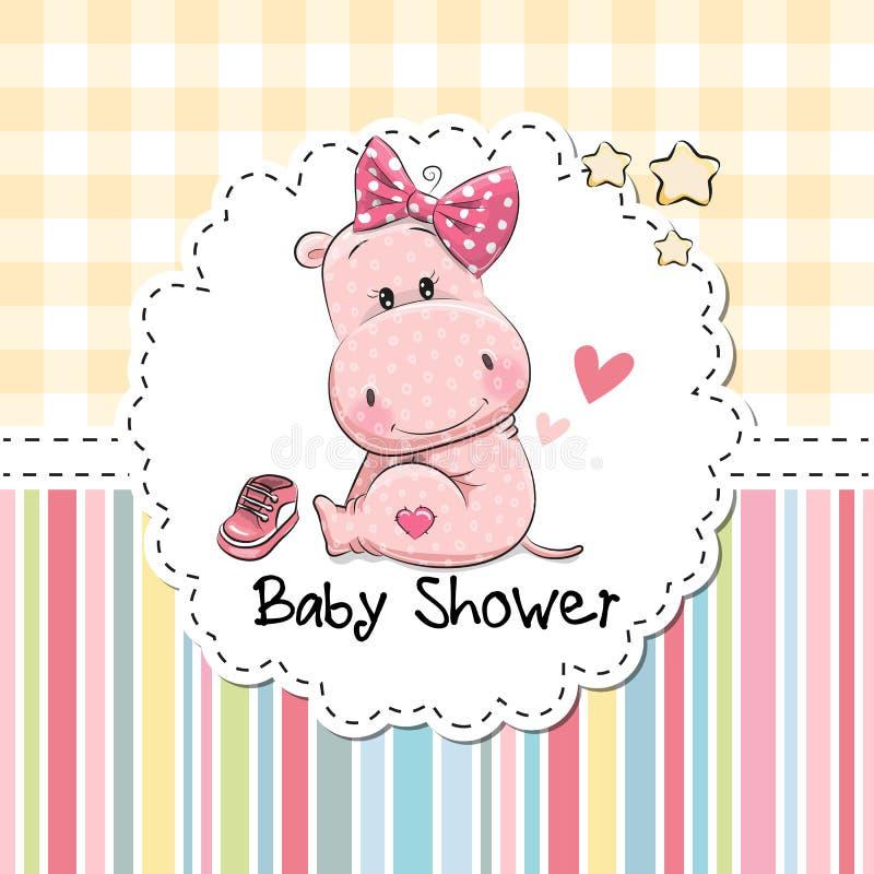 Tarjeta de felicitación de la fiesta de bienvenida al bebé con el hipopótamo stock de ilustración