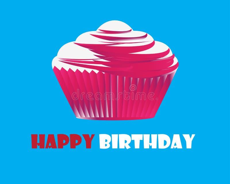 Tarjeta de felicitación de la magdalena del cumpleaños libre illustration