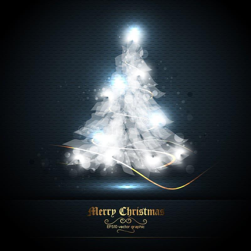 Tarjeta de felicitación de la Navidad con el árbol de luces ilustración del vector
