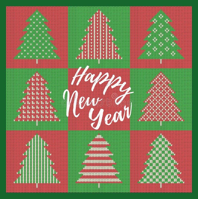 Tarjeta de felicitación de la Navidad con el abeto rojo y verde con las decoraciones En verde un fondo hizo punto el modelo y nue libre illustration