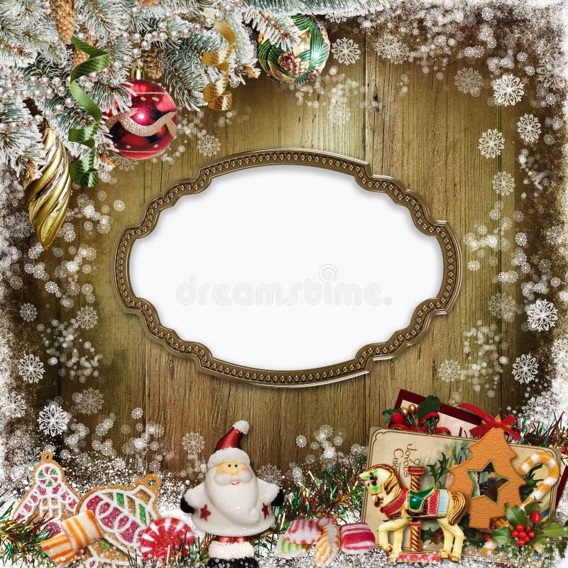 Tarjeta de felicitación de la Navidad con el marco, Santa Claus, las galletas, el caramelo y la decoración de la Navidad stock de ilustración