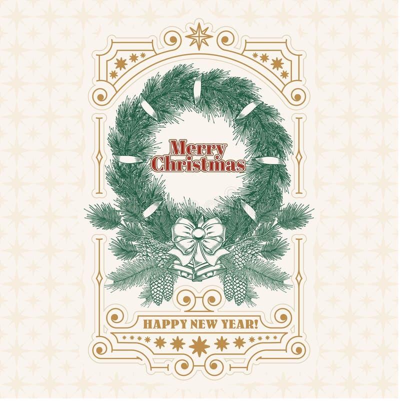 Tarjeta de felicitación de la Navidad con la guirnalda del abeto, una invitación a un día de fiesta stock de ilustración