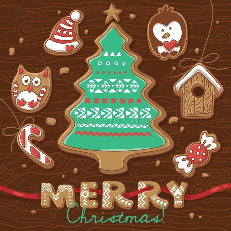 Tarjeta de felicitación de la Navidad con las galletas del pan de jengibre libre illustration