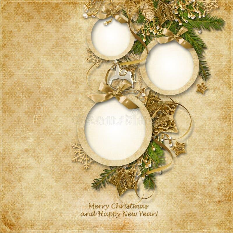 Tarjeta de felicitación de la Navidad con los marcos para las fotos de la familia, wi stock de ilustración