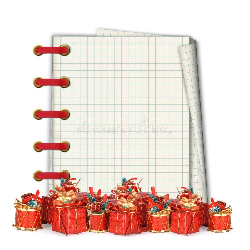 Tarjeta de felicitación de la Navidad con los regalos del montón stock de ilustración