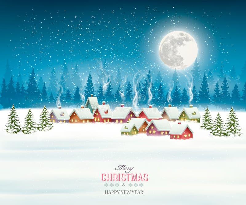 Tarjeta de felicitación de la Navidad contra pueblo nevado stock de ilustración