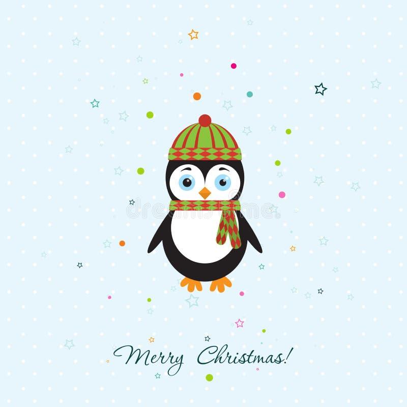 Tarjeta de felicitación de la Navidad de la plantilla con un pingüino, vector ilustración del vector