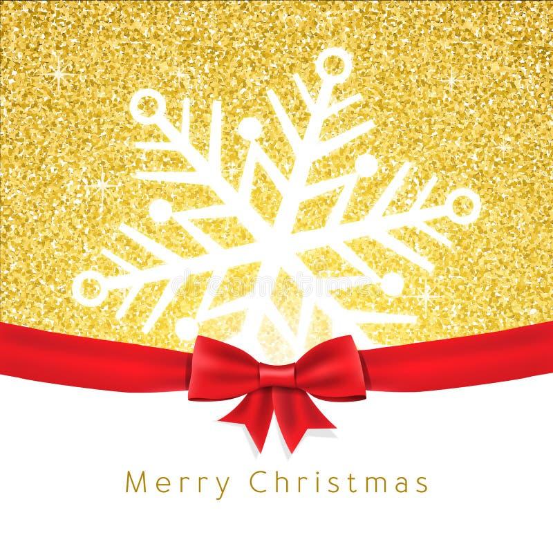 Tarjeta de felicitación de la Navidad del vector Copo de nieve en brillo del oro libre illustration