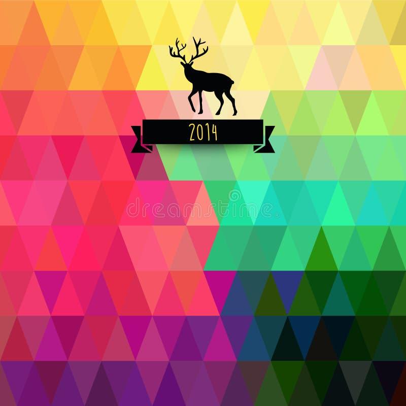 Tarjeta de felicitación de la Navidad del vector triángulos Árbol de navidad Hipst stock de ilustración