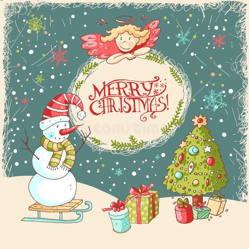 Tarjeta de felicitación de la Navidad del vector y del Año Nuevo ilustración del vector