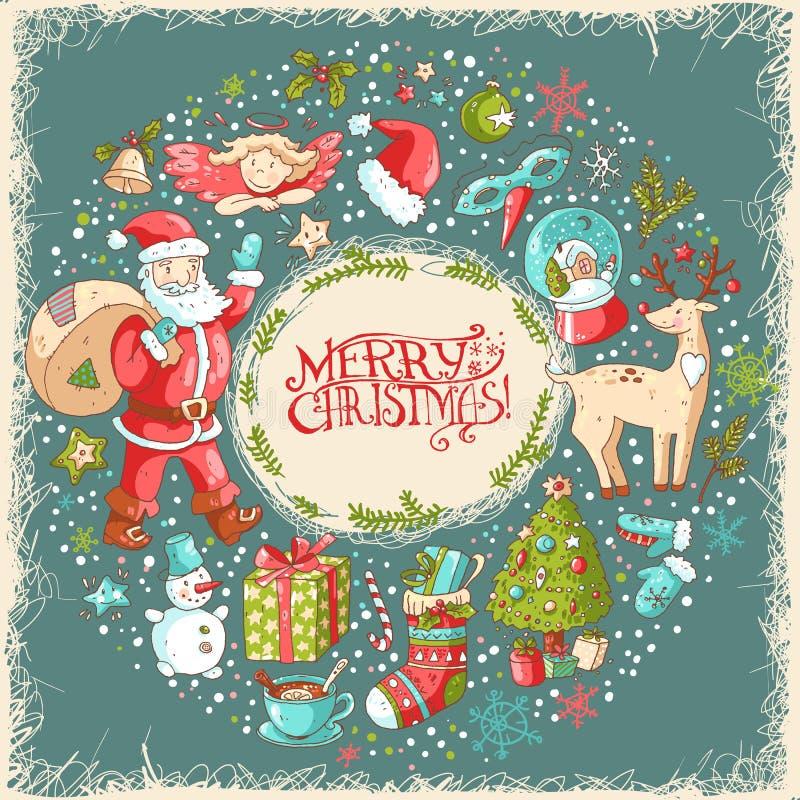 Tarjeta de felicitación de la Navidad del vector y del Año Nuevo libre illustration