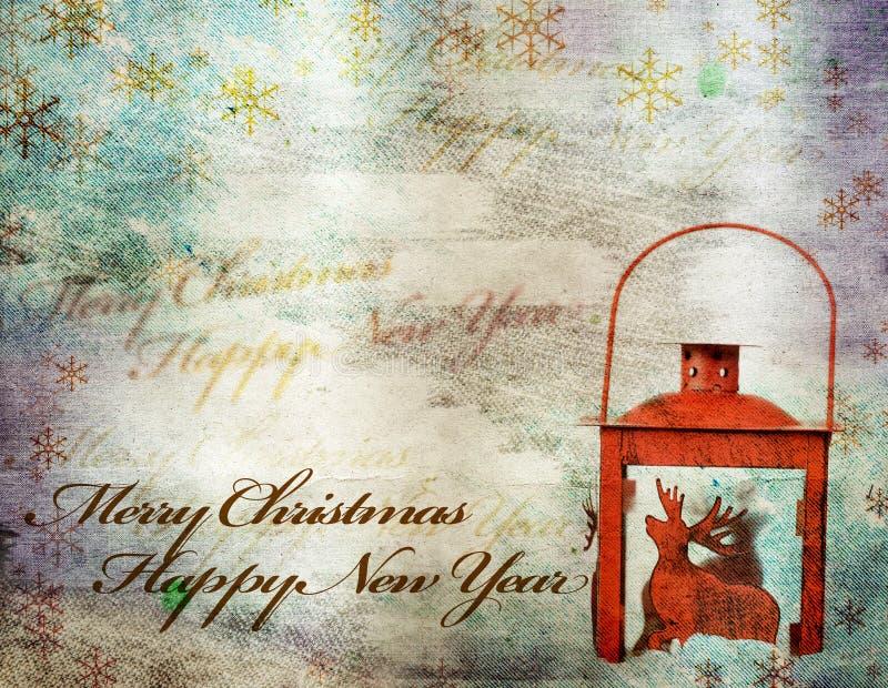 Tarjeta de felicitación de la Navidad del vintage foto de archivo