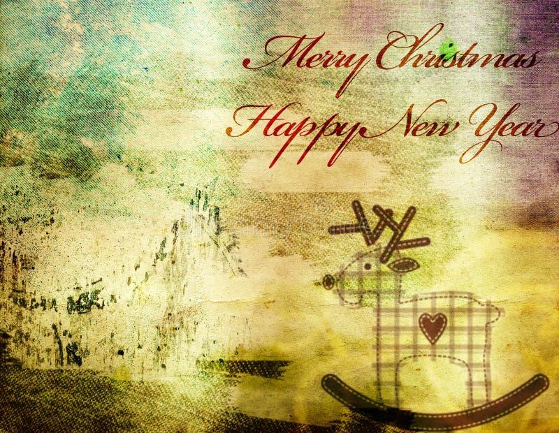 Tarjeta de felicitación de la Navidad del vintage imagen de archivo libre de regalías