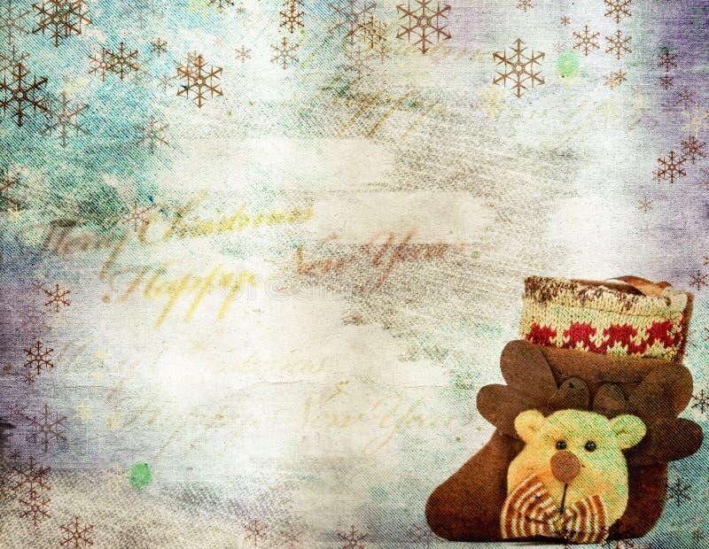 Tarjeta de felicitación de la Navidad del vintage fotos de archivo