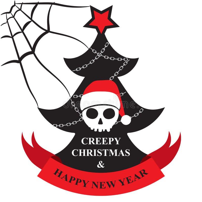 Tarjeta de felicitación de la Navidad espeluznante y de la Feliz Año Nuevo stock de ilustración