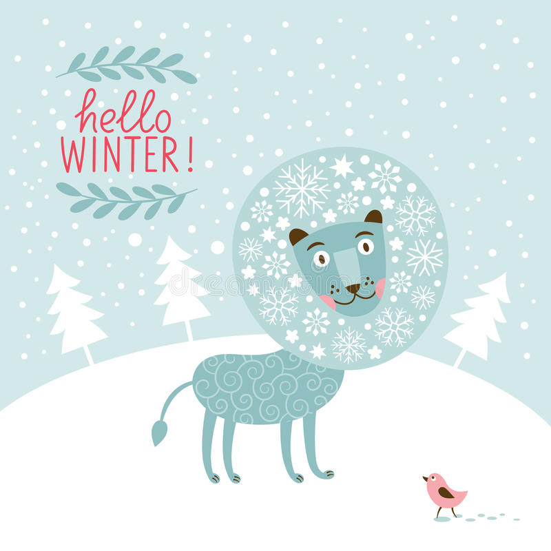 Tarjeta de felicitación de la Navidad, león de la hada de la nieve ilustración del vector