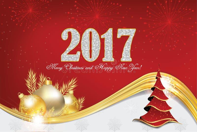 Tarjeta de felicitación de la Navidad y del Año Nuevo 2017 libre illustration