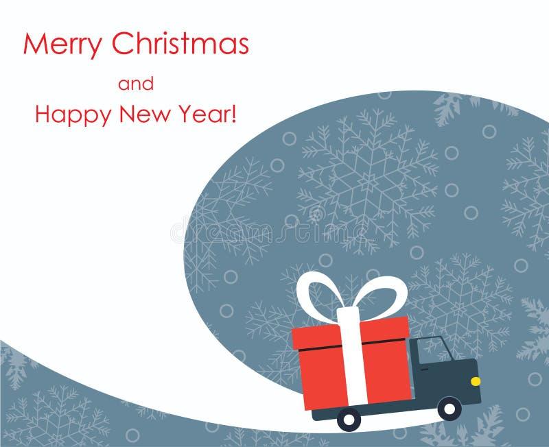 Tarjeta de felicitación de la Navidad y del Año Nuevo con la furgoneta de entrega del regalo ilustración del vector