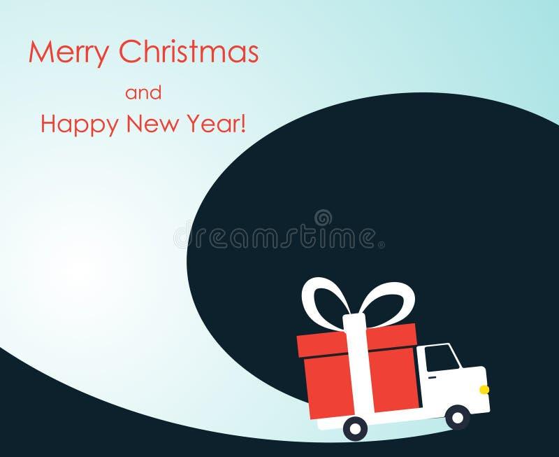 Tarjeta de felicitación de la Navidad y del Año Nuevo con la furgoneta de entrega del regalo stock de ilustración