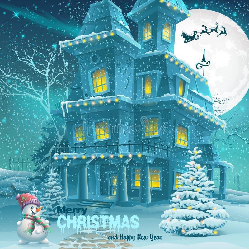 Tarjeta de felicitación de la Navidad y del Año Nuevo con la imagen de una noche nevosa con un muñeco de nieve y los árboles de n