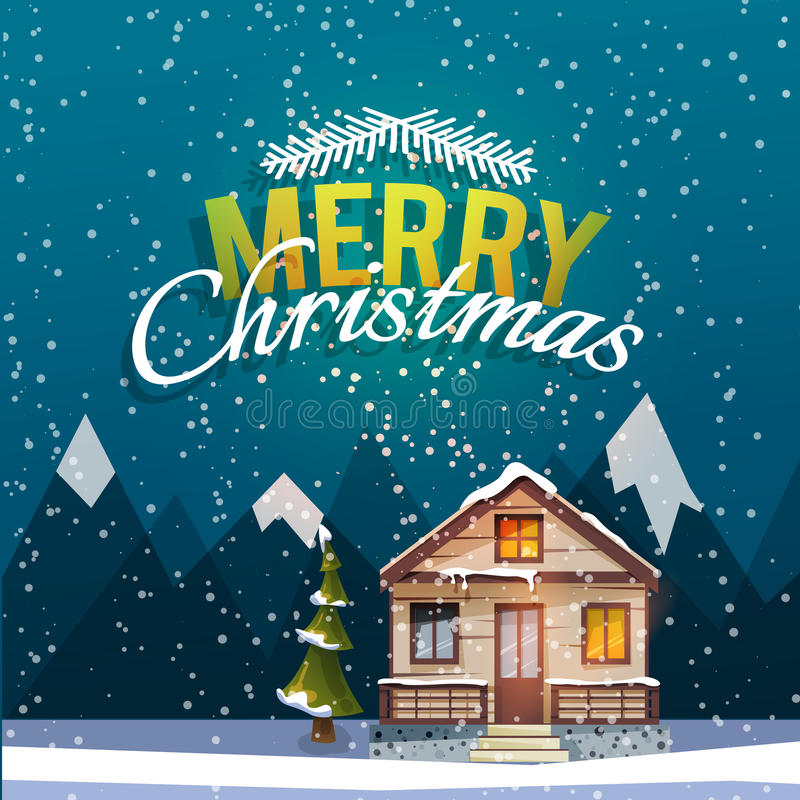 Tarjeta de felicitación de la Navidad y del Año Nuevo Domicilio familiar dulce entre las montañas ilustración del vector
