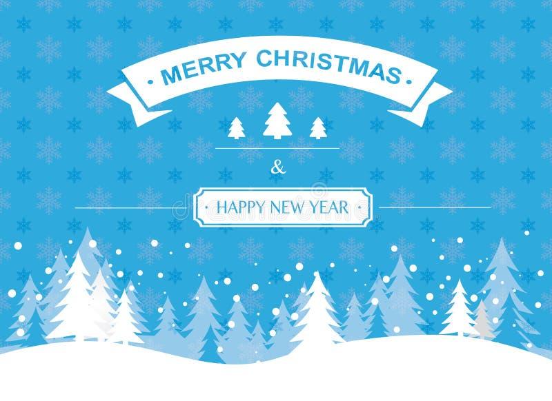 Tarjeta de felicitación de la Navidad y del Año Nuevo en el copo de nieve azul libre illustration