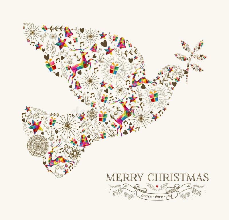 Tarjeta de felicitación de la paloma de la paz de la Navidad del vintage stock de ilustración