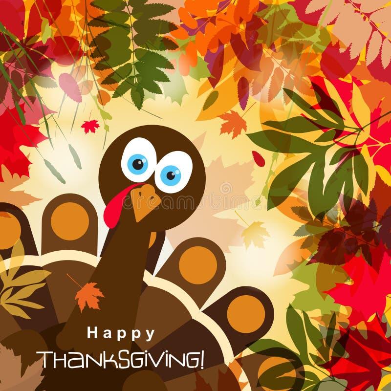 Tarjeta de felicitación de la plantilla con un pavo feliz de la acción de gracias, vector stock de ilustración