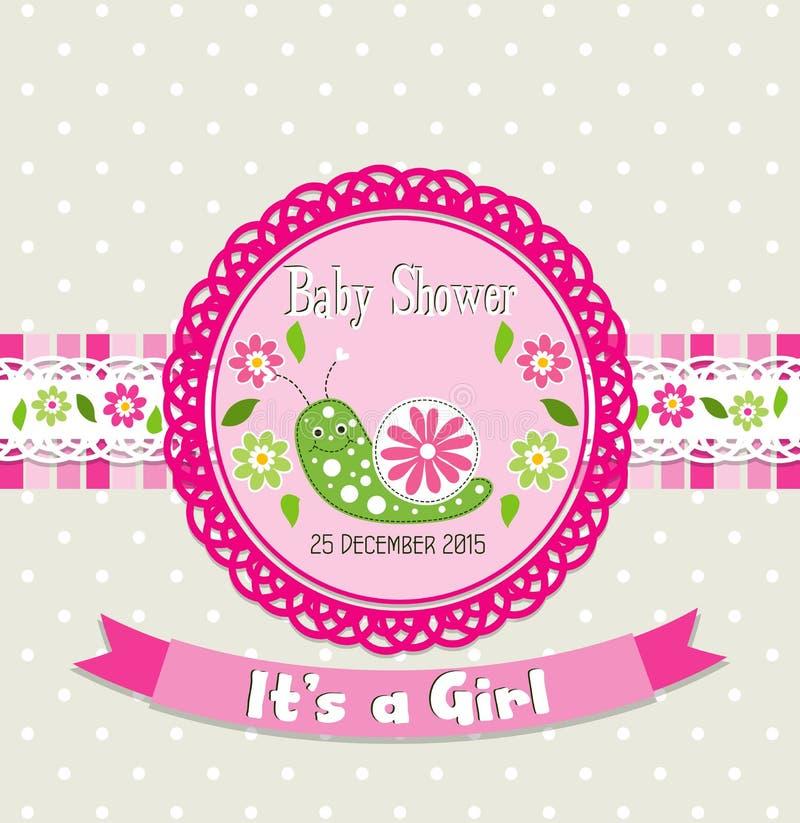 Tarjeta de felicitación de la plantilla - fiesta de bienvenida al bebé, vector ilustración del vector