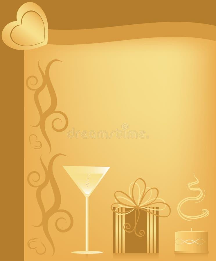 Tarjeta de felicitación de la tarjeta del día de San Valentín stock de ilustración