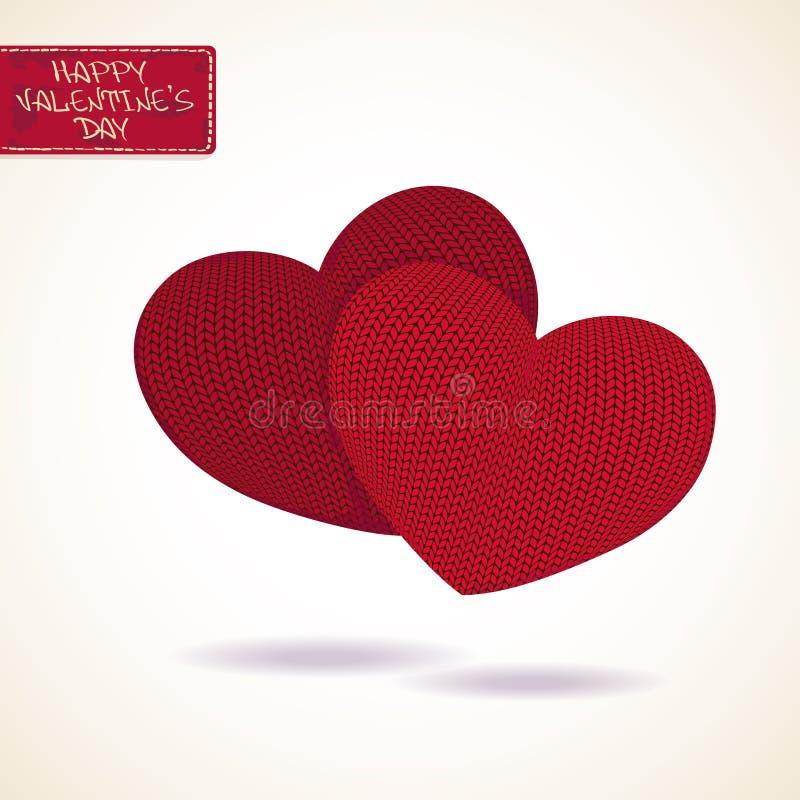 Tarjeta de felicitación de la tarjeta del día de San Valentín con dos corazones hechos punto ilustración del vector