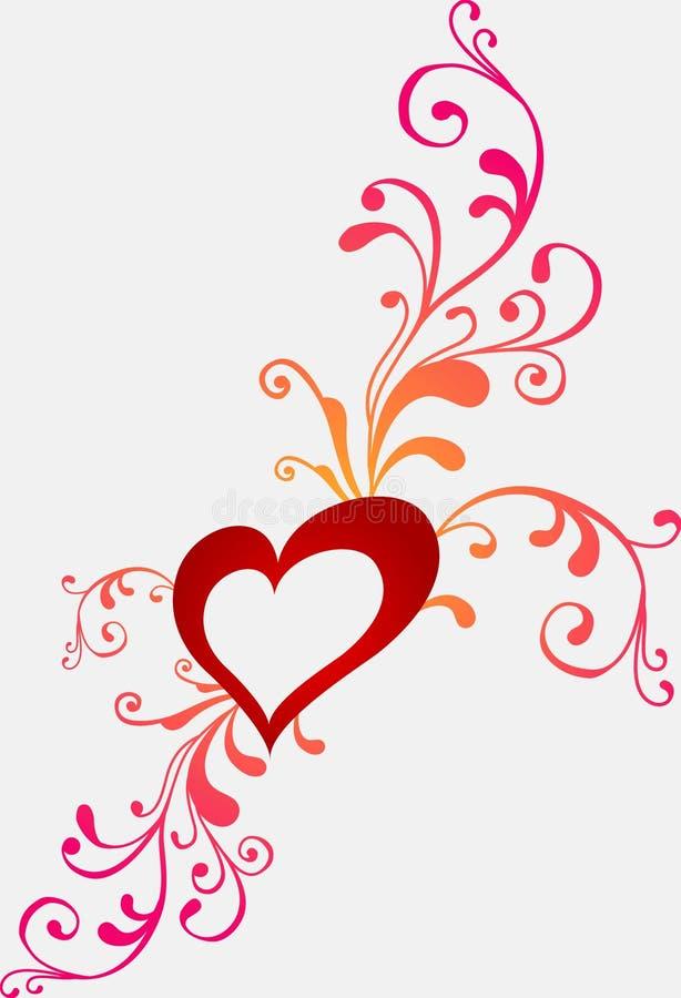 Tarjeta de felicitación de la tarjeta del día de San Valentín con el corazón stock de ilustración
