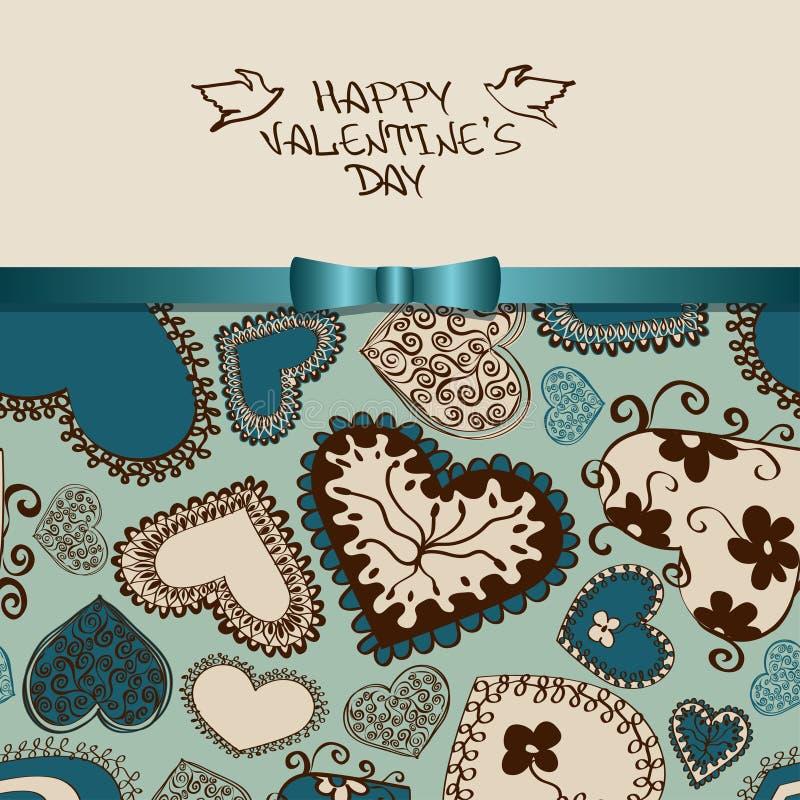 Tarjeta de felicitación de la tarjeta del día de San Valentín con el modelo del corazón stock de ilustración