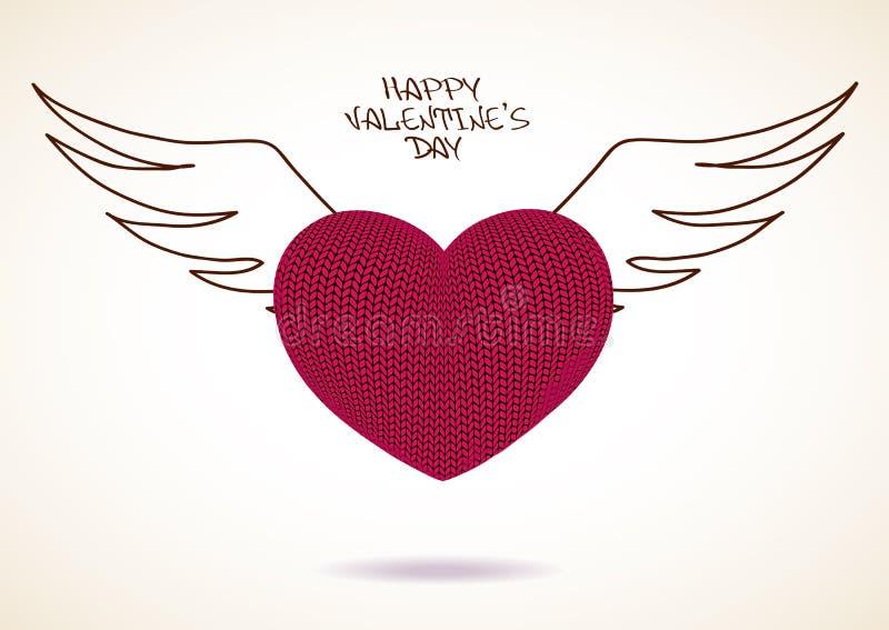 Tarjeta de felicitación de la tarjeta del día de San Valentín del corazón hecho punto con las alas libre illustration