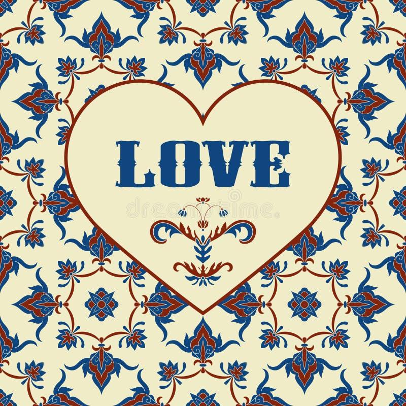 Tarjeta de felicitación de la tarjeta del día de San Valentín del vector con el corazón stock de ilustración
