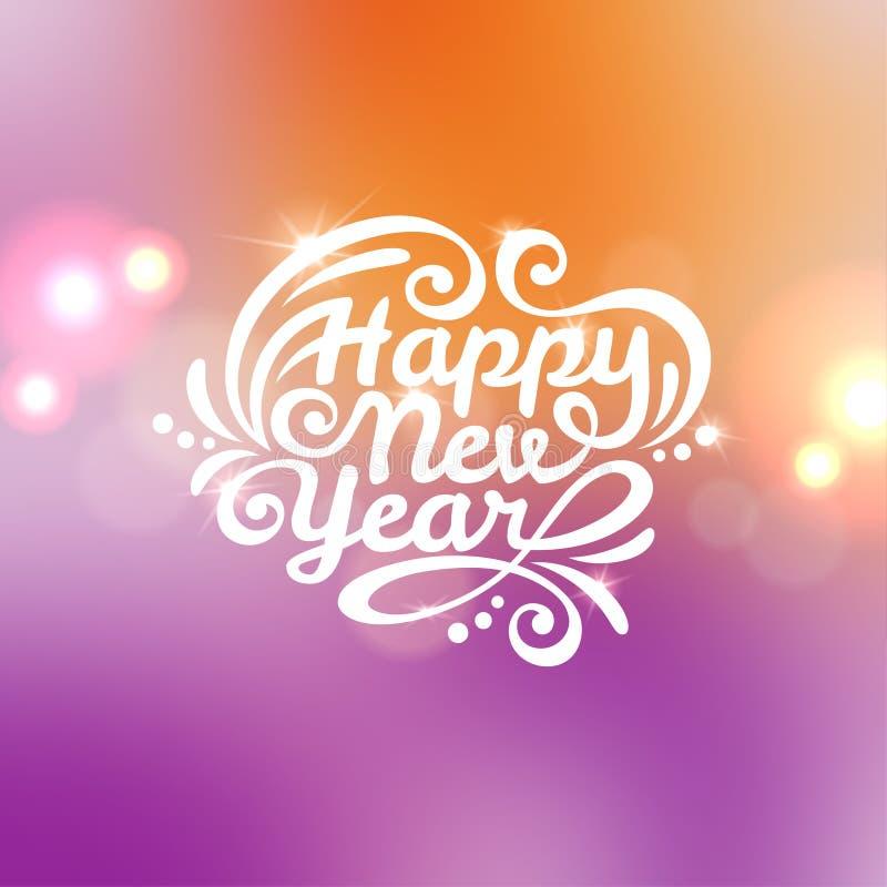 Tarjeta de felicitación de las letras de la Feliz Año Nuevo stock de ilustración