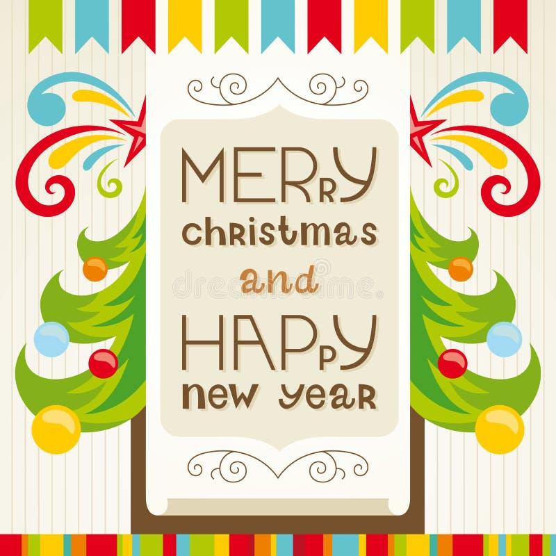 Tarjeta de felicitación de las letras de la Feliz Navidad ilustración del vector