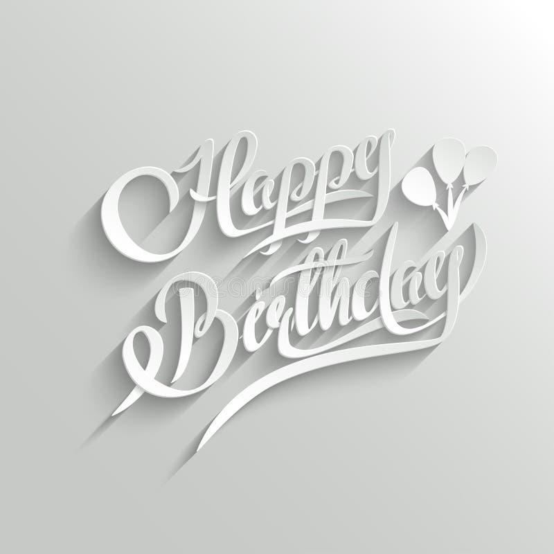 Tarjeta de felicitación de las letras del feliz cumpleaños stock de ilustración