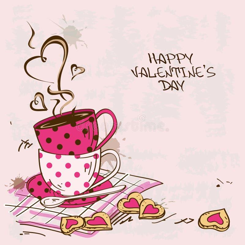 Tarjeta de felicitación de las tarjetas del día de San Valentín con pares de tazas de té stock de ilustración