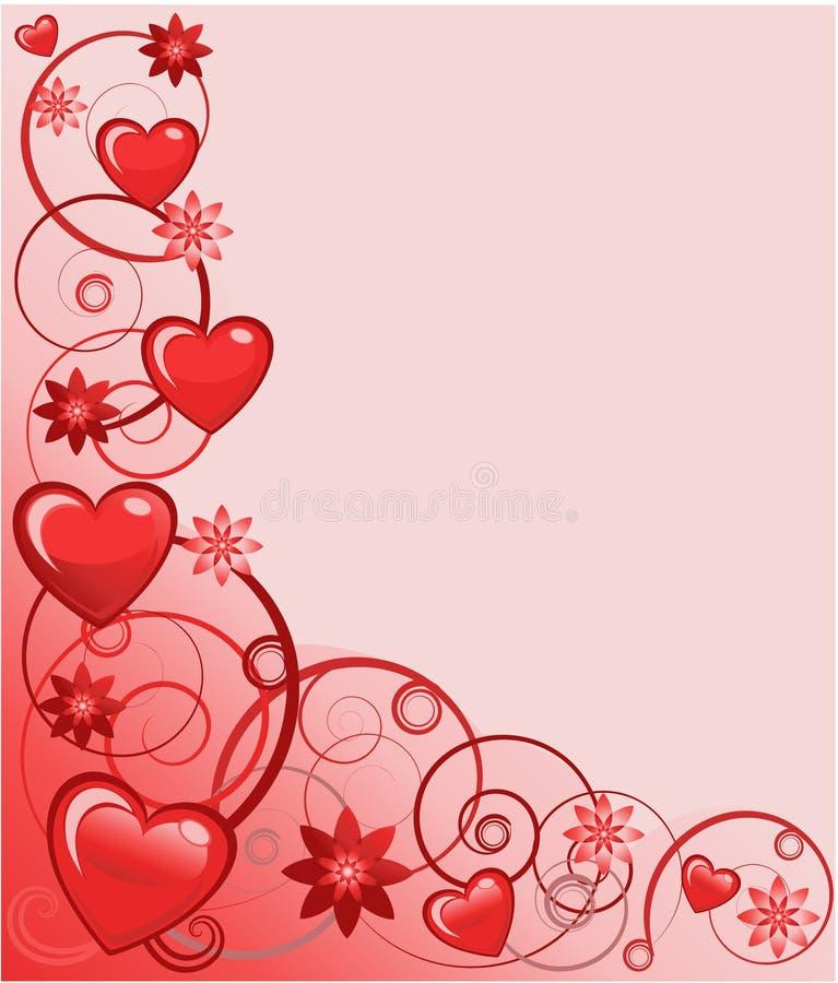 Tarjeta de felicitación de las tarjetas del día de San Valentín, ilustración del vector stock de ilustración