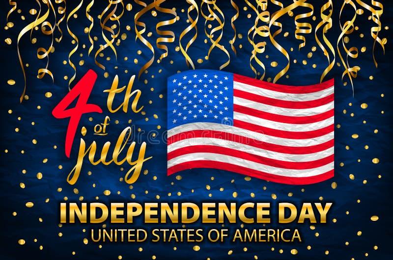Tarjeta de felicitación de los E.E.U.U. del Día de la Independencia del brillo del oro, aviador Cartel de julio del cuarto Bander ilustración del vector