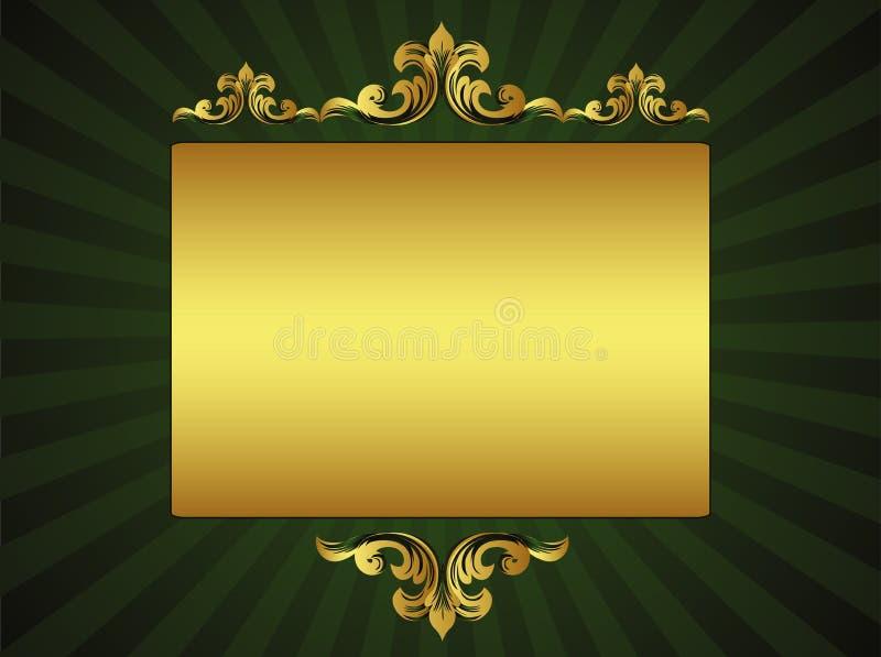 Tarjeta de felicitación de lujo verde stock de ilustración
