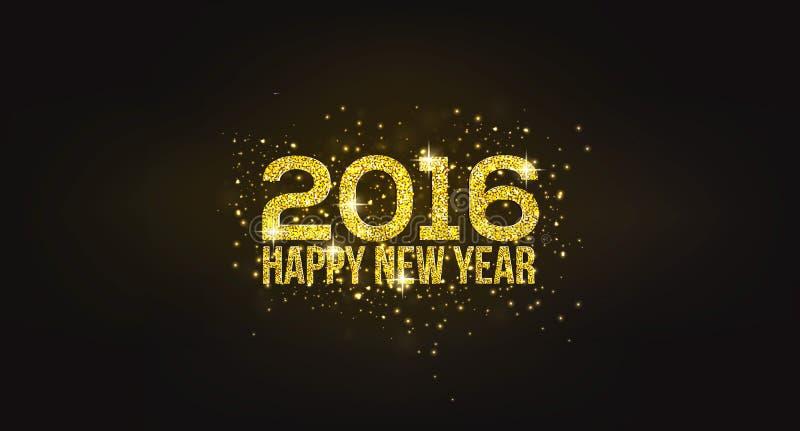 Tarjeta de felicitación de oro de la Feliz Año Nuevo 2016 stock de ilustración