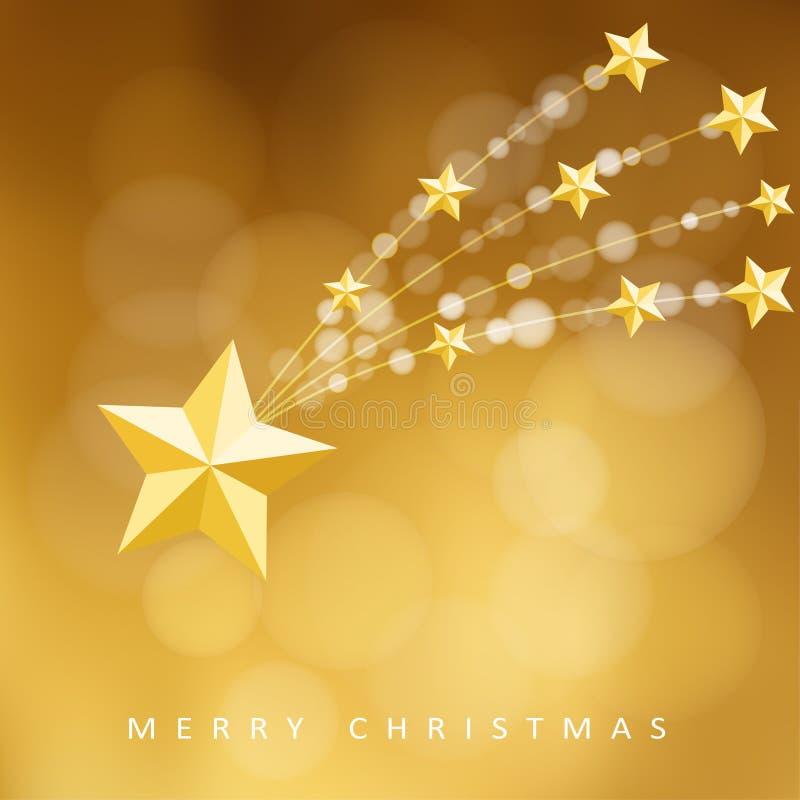 Tarjeta de felicitación de oro moderna de la Navidad, invitación con el cometa, estrella el caer, ilustración del vector