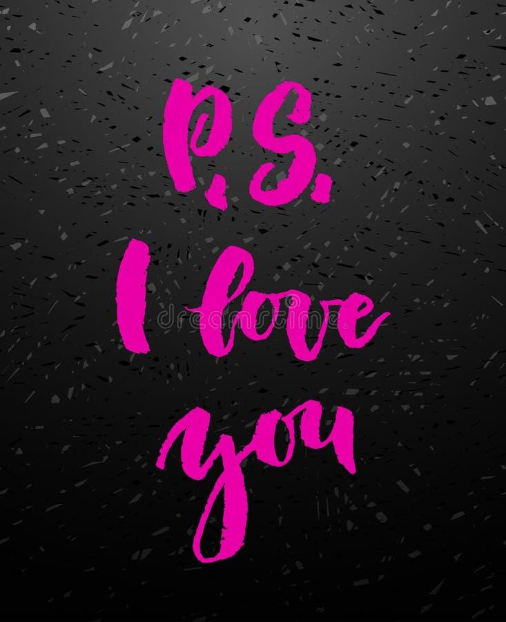 Tarjeta de felicitación de P S te amo con caligrafía stock de ilustración