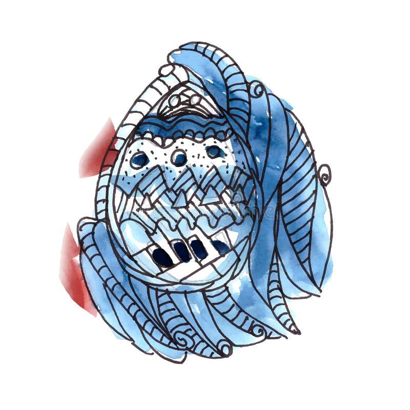 Tarjeta de felicitación de Pascua con el fondo azul del huevo de la acuarela fotos de archivo