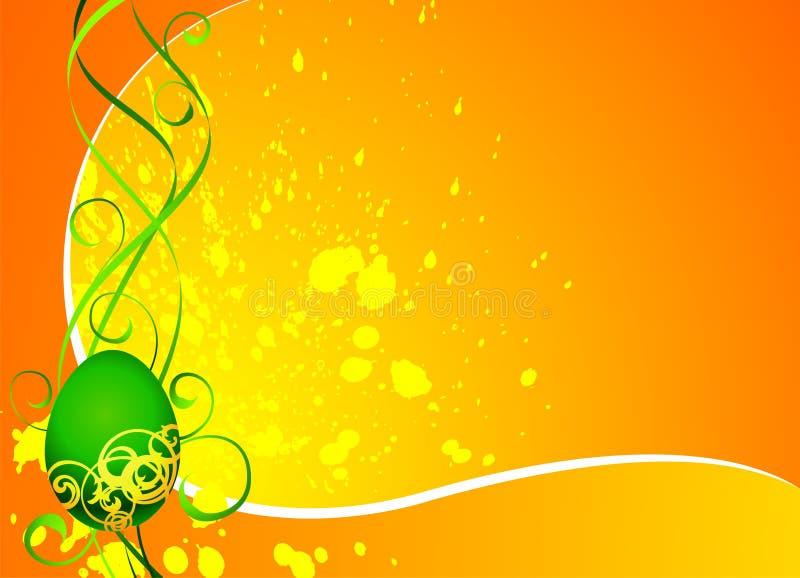 Tarjeta de felicitación de Pascua con el huevo pintado verde libre illustration