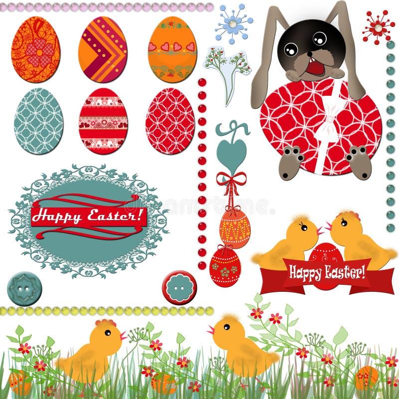 Tarjeta de felicitación de Pascua con los huevos ilustración del vector
